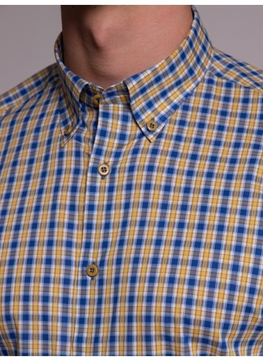 Dufy Dufy Kareli Kısa Kollu Pamuklu Ipeksi Slim Fit Erkek Gömlek Sarı